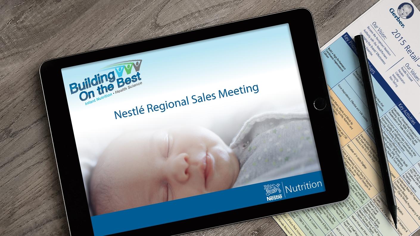 NESTLE Sales PPT iPad on table 1410x793